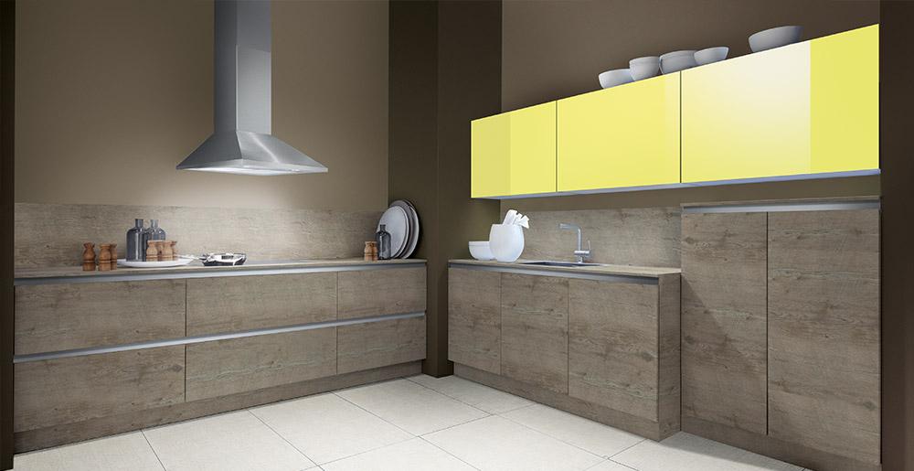 Luce couleur jaune citron et Grigio GL, Porto GL Woodline beachwood